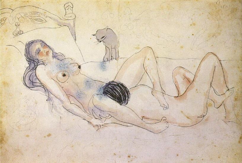 კაცი და ქალი კატასთან ერთად